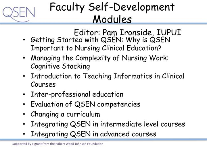 Faculty Self-Development Modules