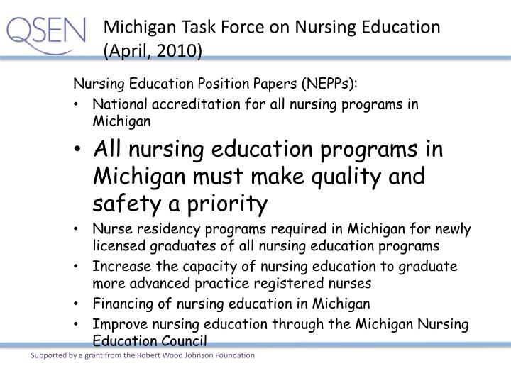 Michigan Task Force on Nursing Education (April, 2010)