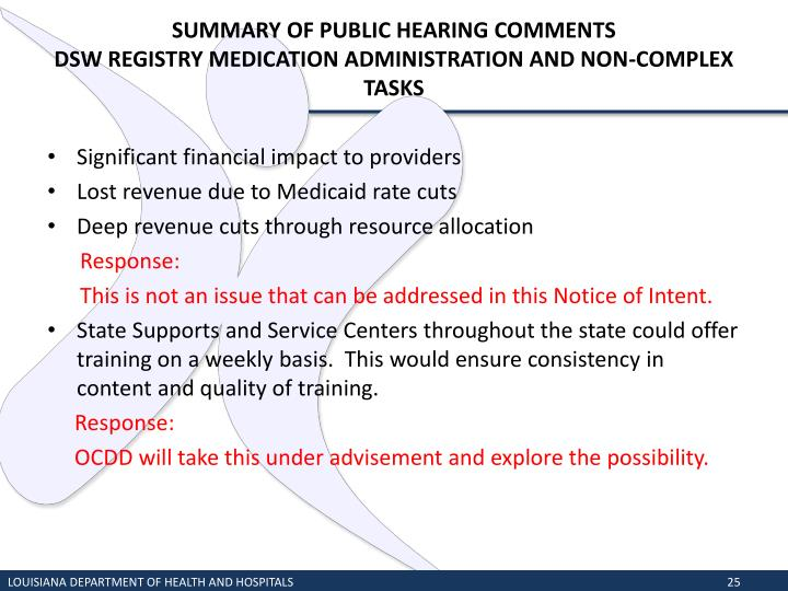 SUMMARY OF PUBLIC HEARING COMMENTS