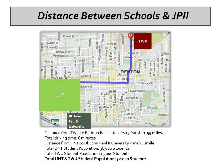 Distance Between Schools & JPII