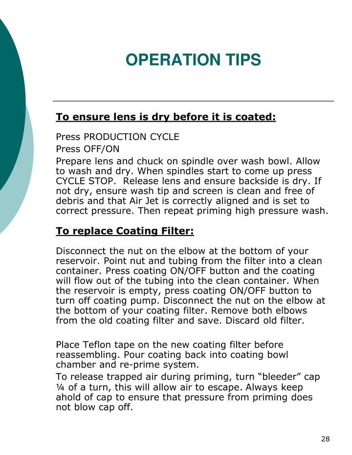 OPERATION TIPS