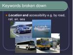 keywords broken down