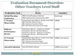 evaluation document overview other teachers level staff