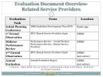 evaluation document overview related service providers