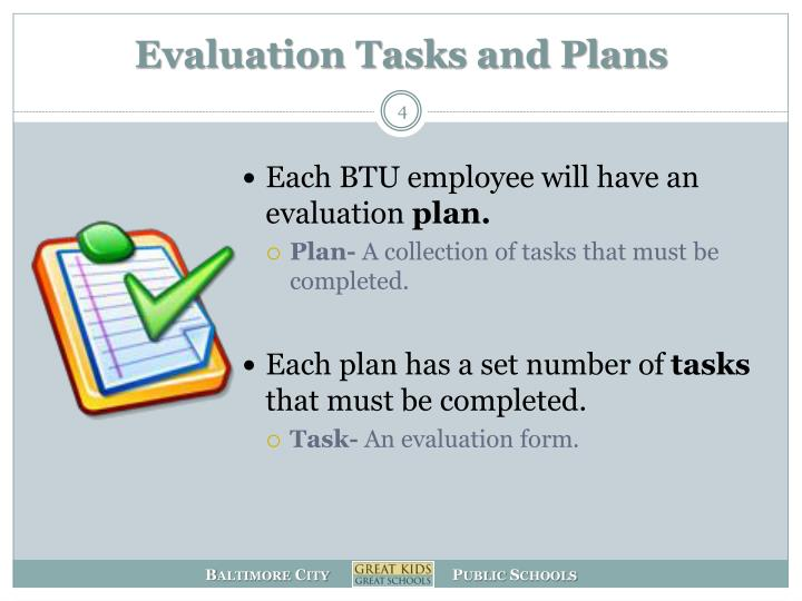 Evaluation Tasks and Plans