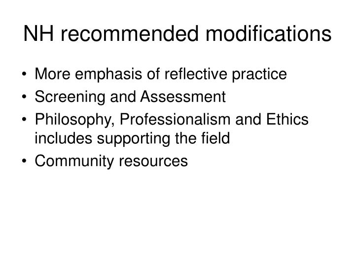 NH recommended modifications