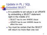 update in pl sql embedded select