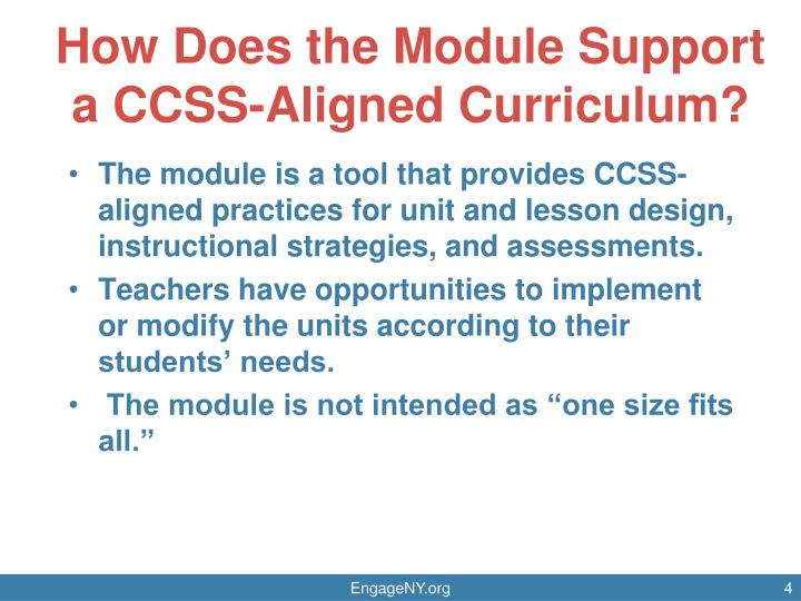 How Does the Module Support a CCSS-Aligned Curriculum?