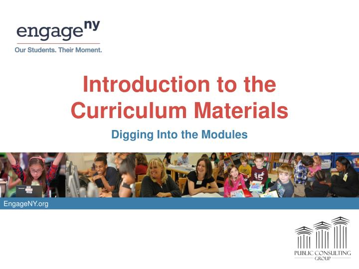 Introduction to the curriculum materials