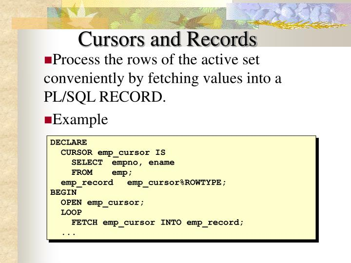Cursors and Records