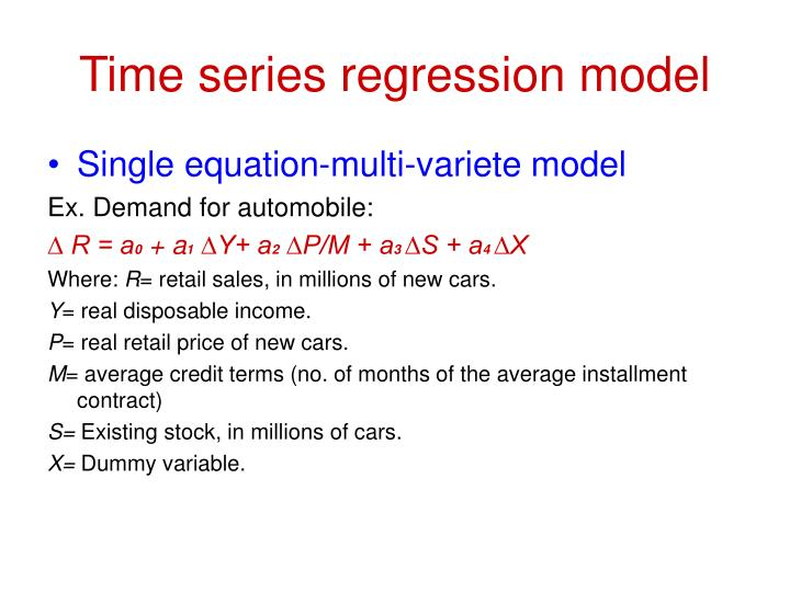 single equation regression models ppt Single-equation regression models (continued) assumption 5: no autocorrelation between the disturbances given any two x values, xi and xj (i ≠j), the correlation between any two ui and uj (i ≠j) is zero.