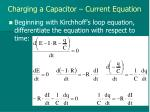 charging a capacitor current equation