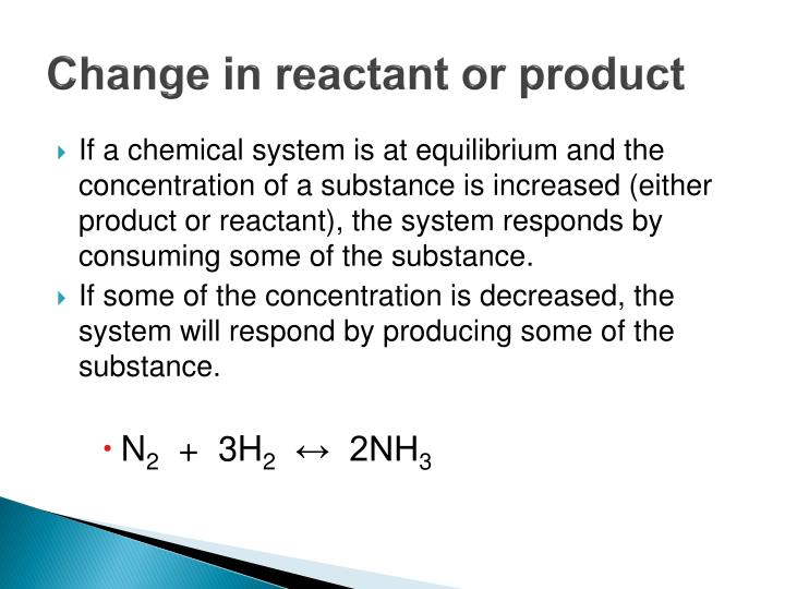 Change in reactant or product