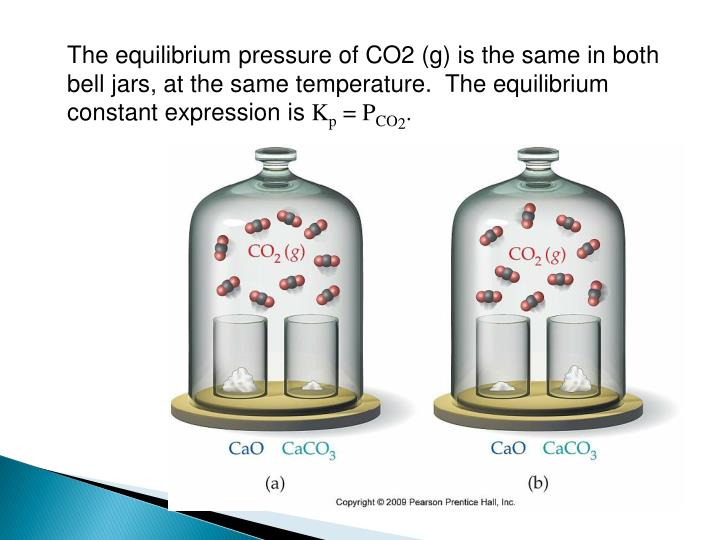 The equilibrium pressure of CO2 (g) is the same in both bell jars, at the same temperature.  The equilibrium constant expression is