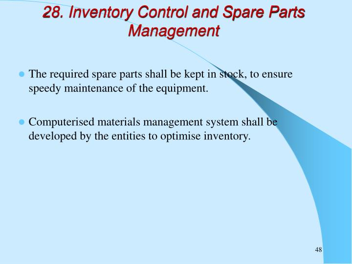 28. Inventory Control and Spare Parts Management