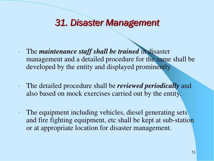 31. Disaster Management