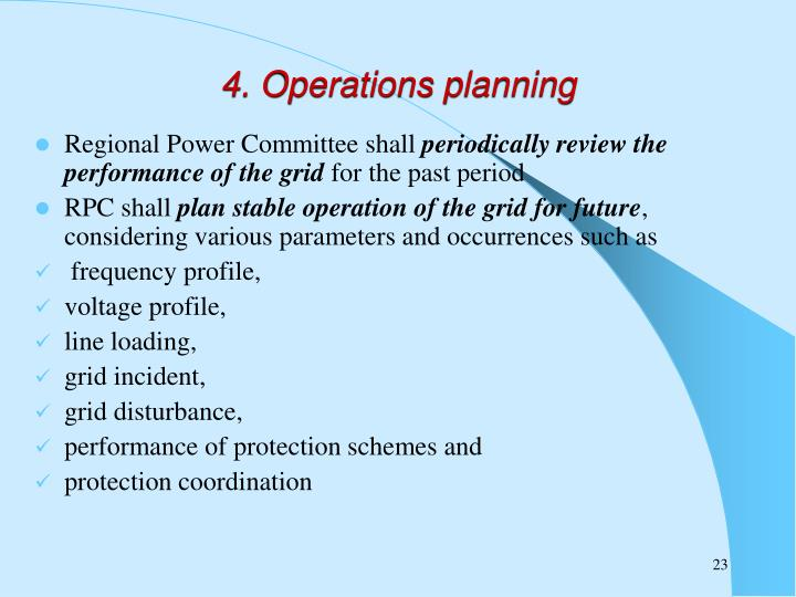 4. Operations planning