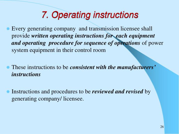 7. Operating instructions
