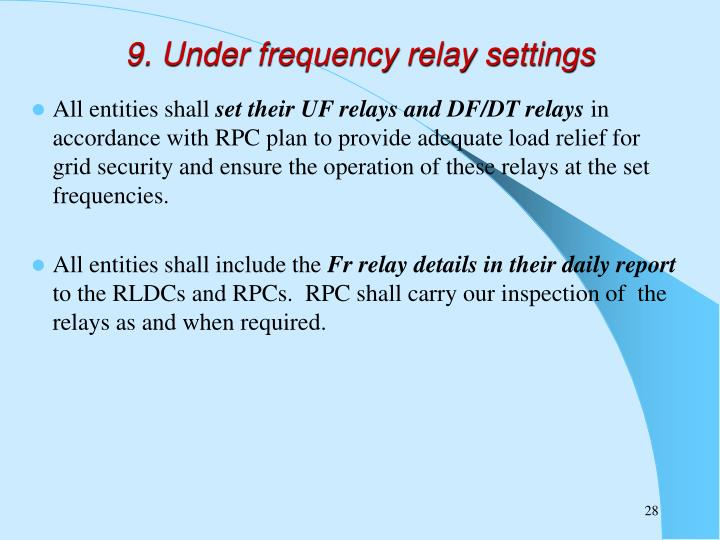 9. Under frequency relay settings