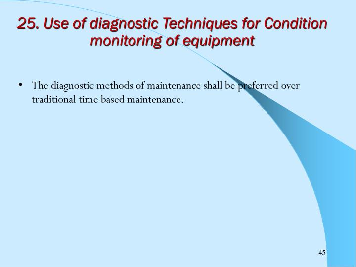 25. Use of diagnostic Techniques for Condition monitoring of equipment