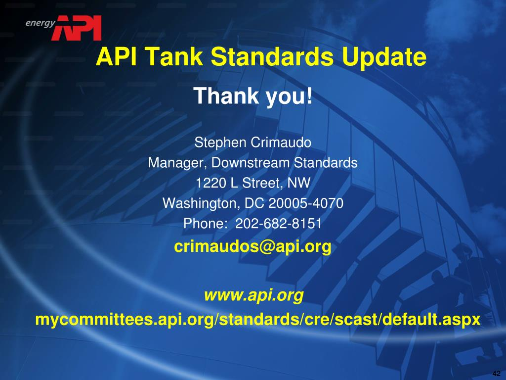 PPT - API Standards Update PowerPoint Presentation - ID:6598915