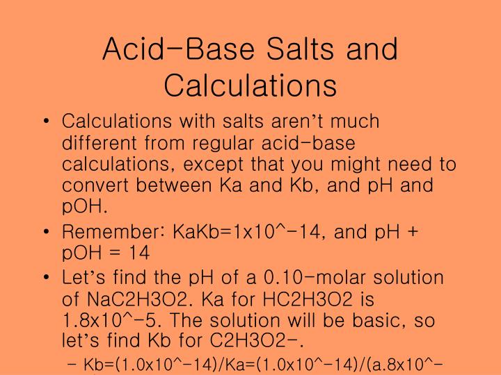 Acid-Base Salts and Calculations