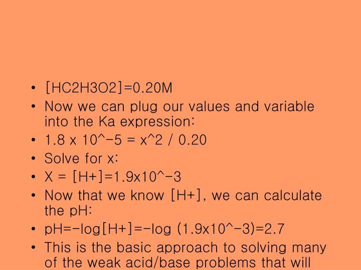 [HC2H3O2]=0.20M