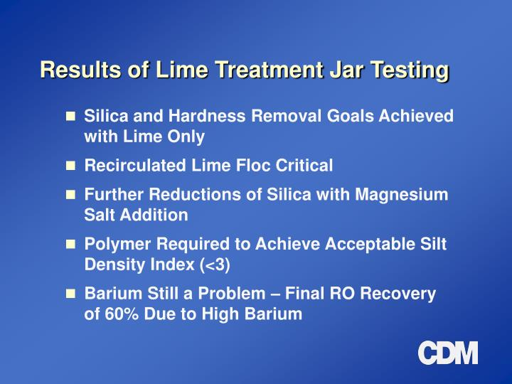 Results of Lime Treatment Jar Testing