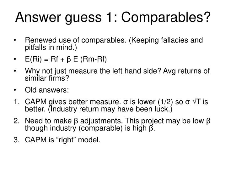 Answer guess 1: Comparables?