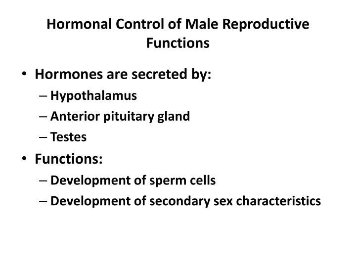 hormonal control of male reproductive functions n.