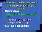 maintenance and re assessment guidelines for resistance training