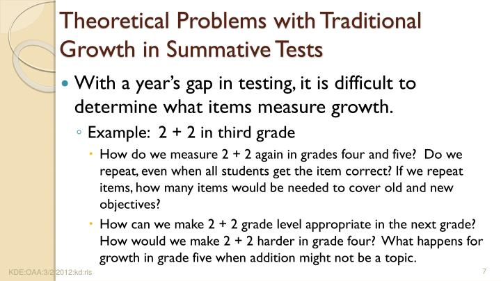 Theoretical Problems with Traditional Growth in Summative Tests