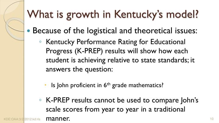What is growth in Kentucky's model?