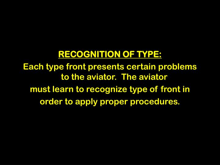 RECOGNITION OF TYPE: