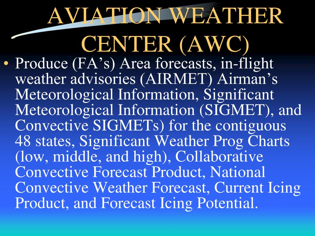 PPT - AVIATION WEATHER SERVICES, SECTIONS 1,2,3 PowerPoint