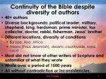 continuity of the bible despite diversity of authors
