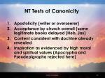 nt tests of canonicity