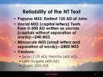 reliability of the nt text