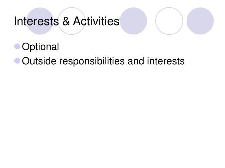 Interests & Activities