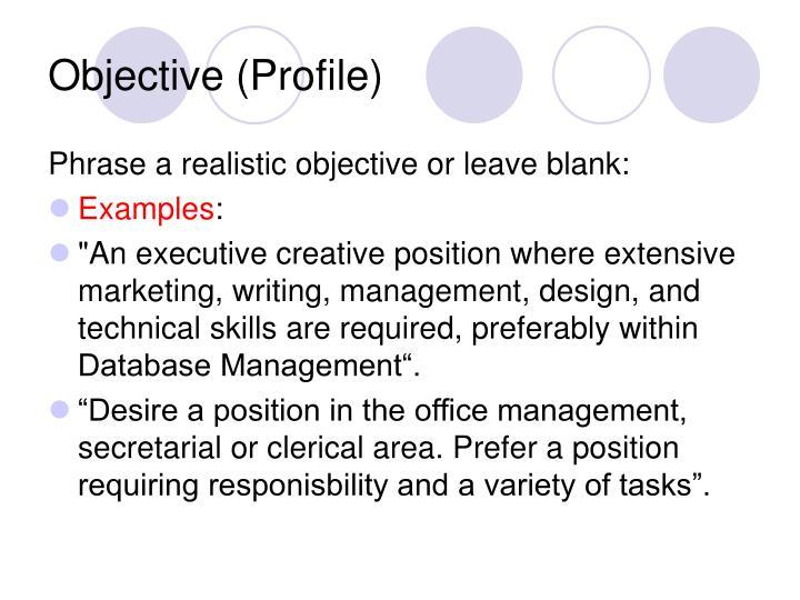 Objective (Profile)
