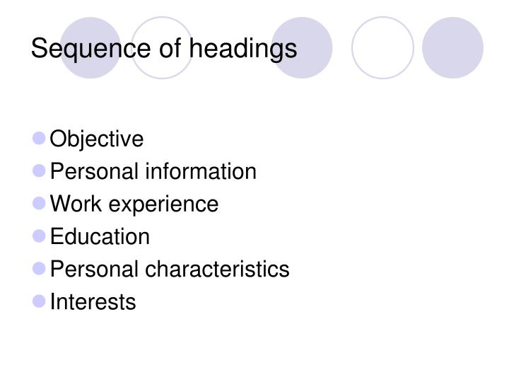 Sequence of headings