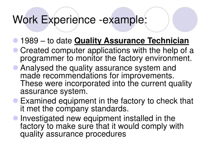 Work Experience -example: