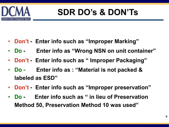 SDR DO's & DON'Ts
