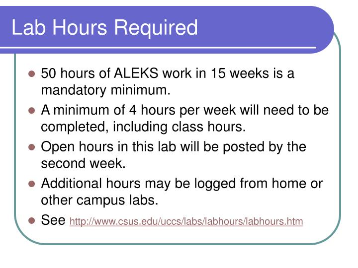 Lab Hours Required