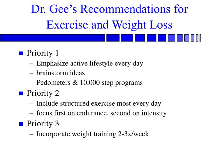 Dr. Gee's Recommendations for  Exercise and Weight Loss