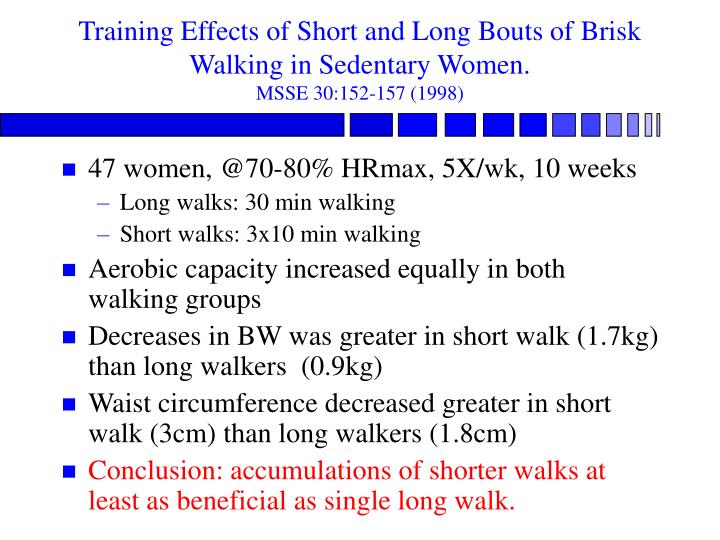 Training Effects of Short and Long Bouts of Brisk Walking in Sedentary Women.