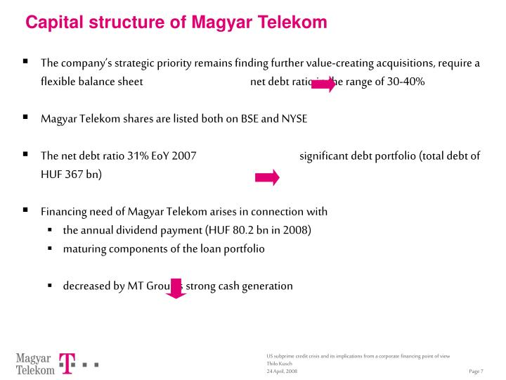 Capital structure of Magyar Telekom