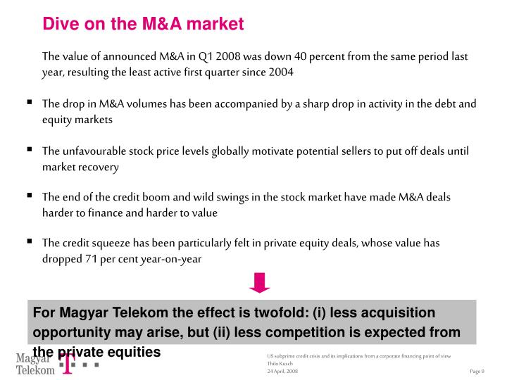 Dive on the M&A market