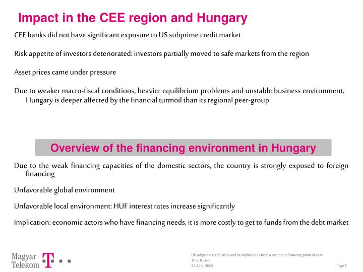 Impact in the CEE region and Hungary
