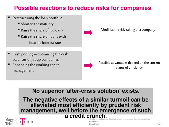 Possible reactions to reduce risks for companies
